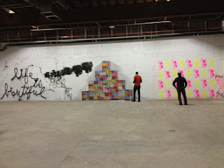 Sean Murdock San Francisco, Miami artist's mural on the wall with Mr Brainwash