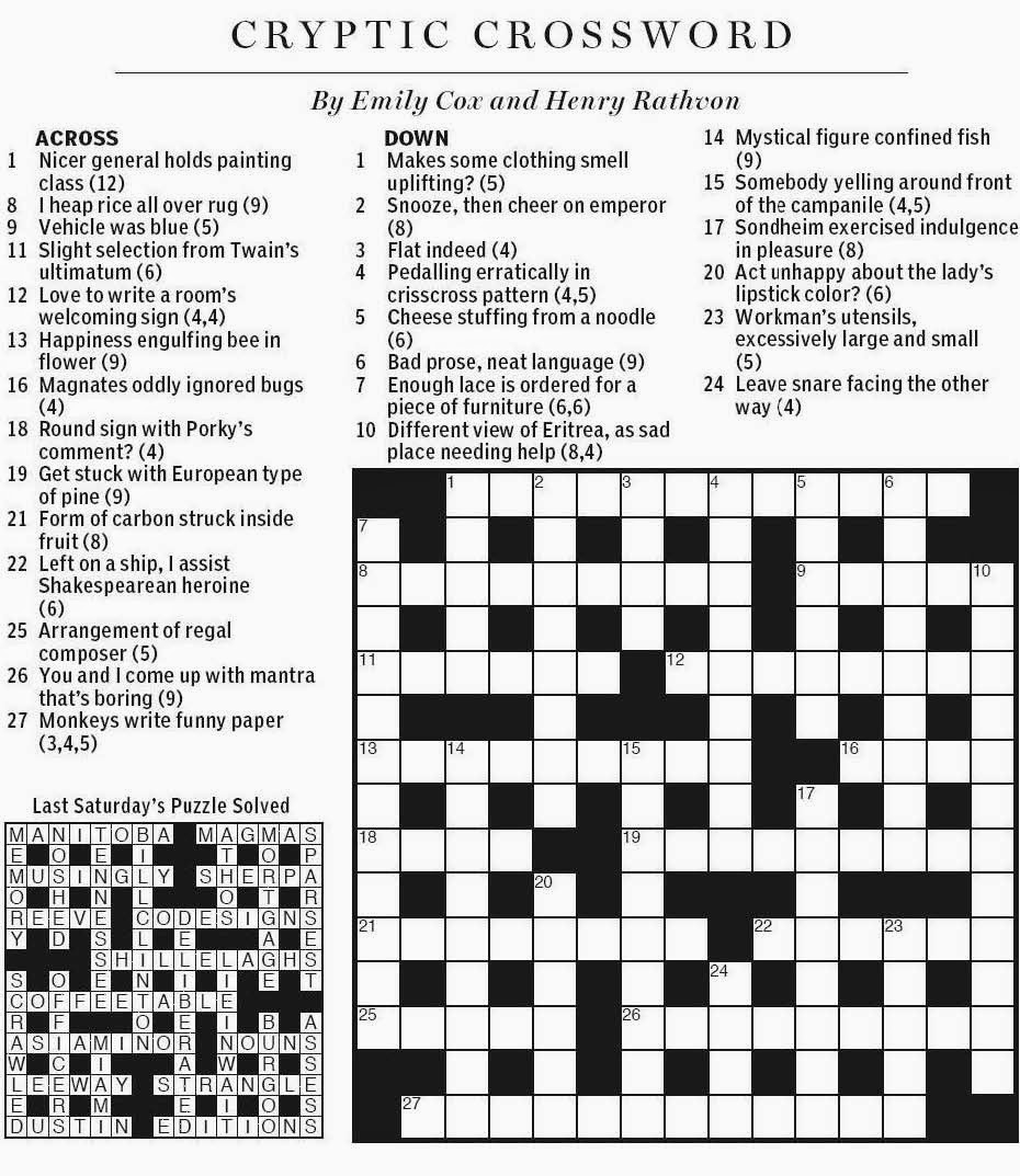 National Post Cryptic Crossword Forum Saturday November 30 2013