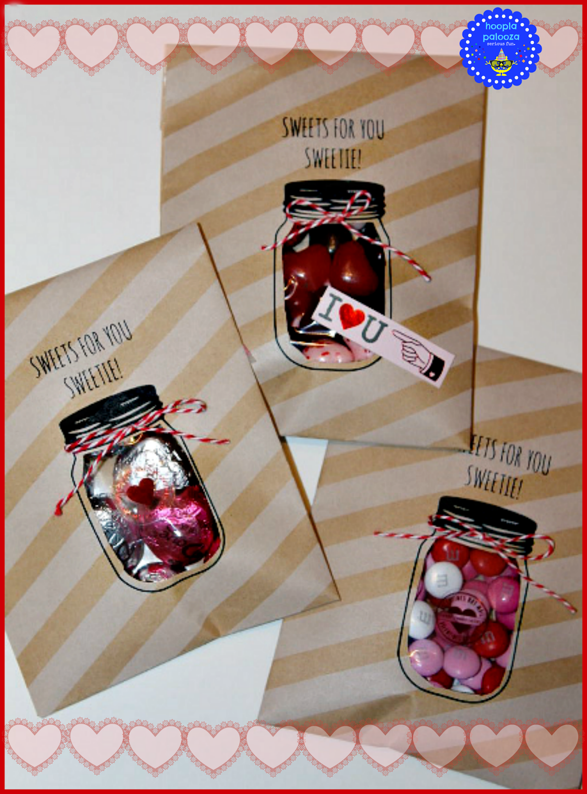 Valentines Day Mason Jar packaging -Treat Bags