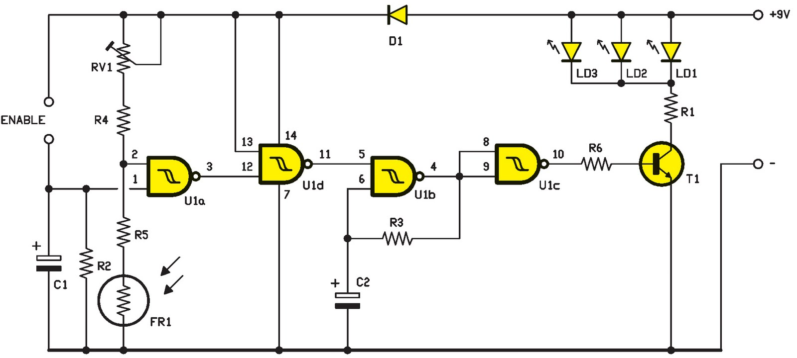 Un clignotant tr s efficace pour le v lo et le jogging schema electronique net - Schema electronique detecteur de mouvement ...