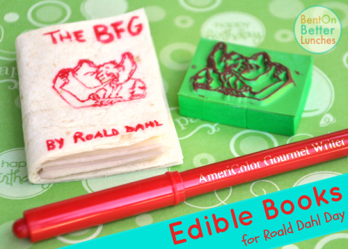 Edible Books! by BentOnBetterLunches - made with food markers & rubber stamps
