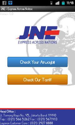 Aplikasi Cek Tarif dan Nomor Resi JNE Untuk Android