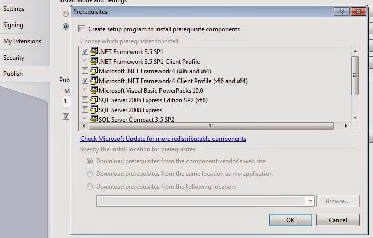 Visual Studio Publish Prerequisites