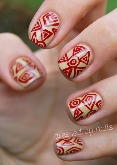 China Glaze On Safari nail art - China Glaze Kalahari Kiss, China Glaze Adventure Red-y