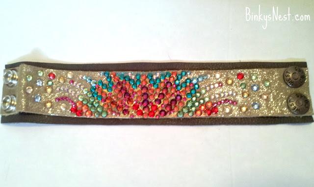 Swarovski Crystal & Leather Cuff Bracelet #2 - Handmade by www.BinkysNest.com