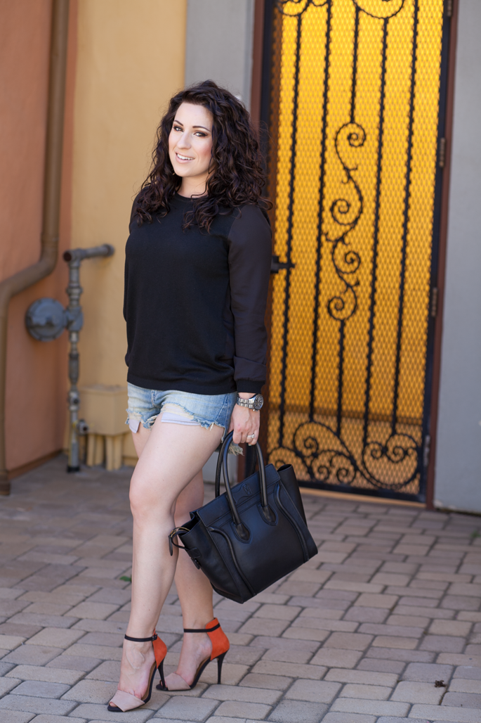 le tote sweater, curly hair, celine bag