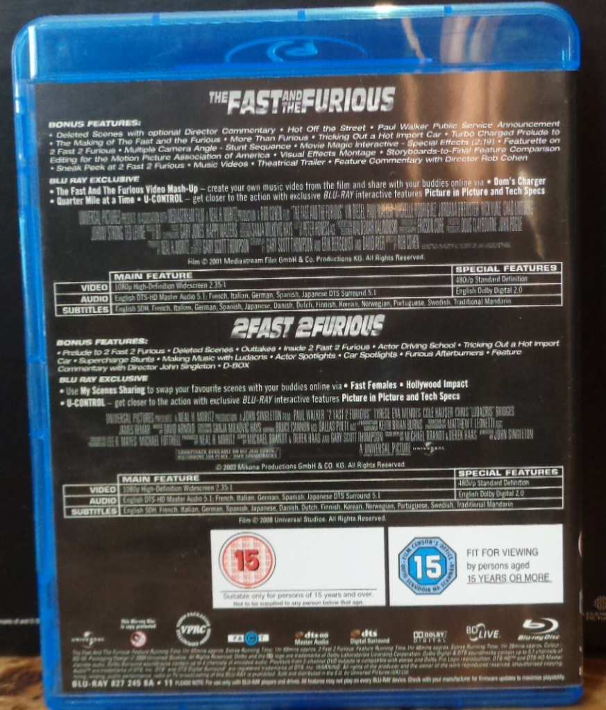 Movies On DVD And Blu Ray The Fast Furious 2001