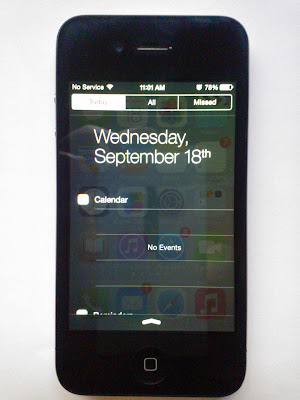 iPhone 4, iOS 7 Notification center