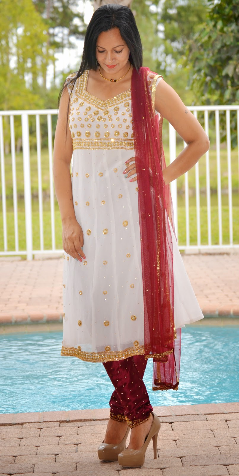 White Anarkali bollywood fashion saree lehnga www.sandysandhu.co