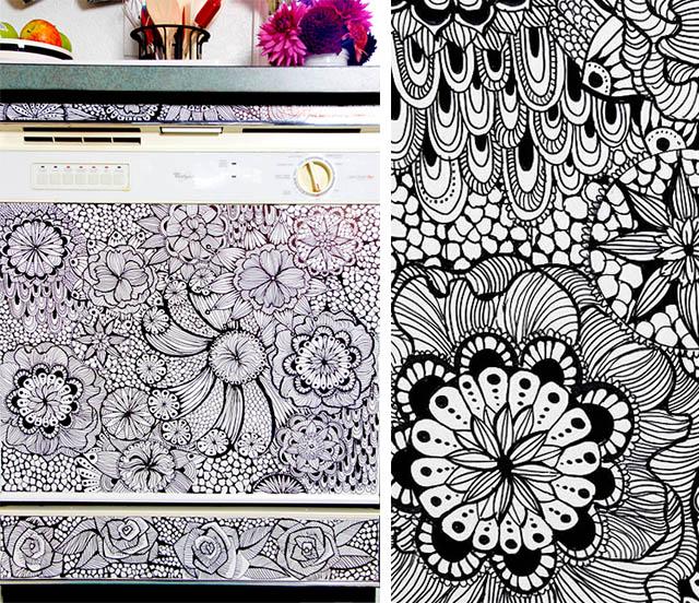 Perilica za suđe ukrašena crtkarijama