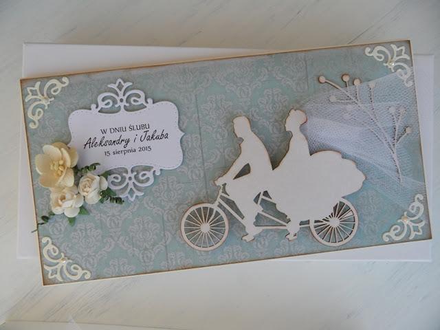kartka ślubna rower