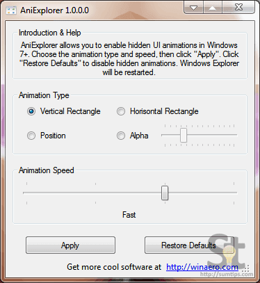 AniExplorer, Activate Explorer Animations in Windows 7 and 8