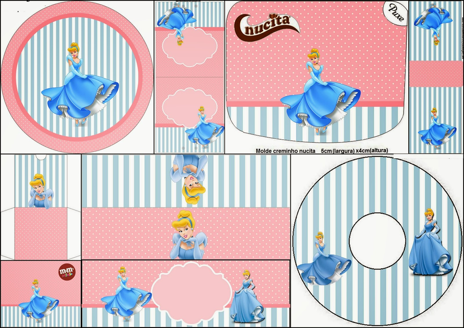 Cinderella in Pink and Light Blue: Free Printable Candy Bar Labels.
