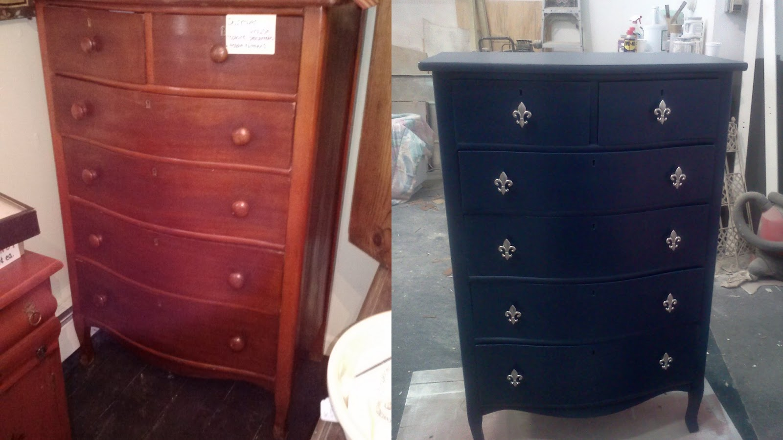 vintage dresser painted navy blue and wood knobs replaced with silver fleur de lis blue shabby chic furniture
