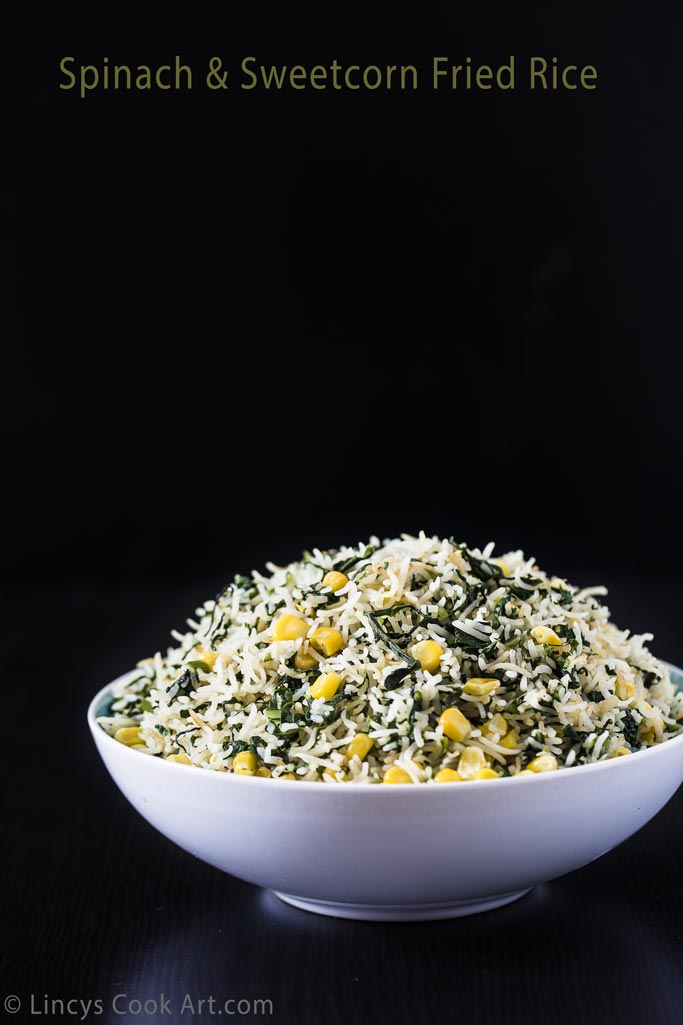 Spinach and sweetcorn fried rice recipe
