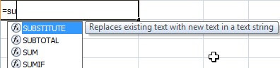 using SUBSTITUTE function in excel