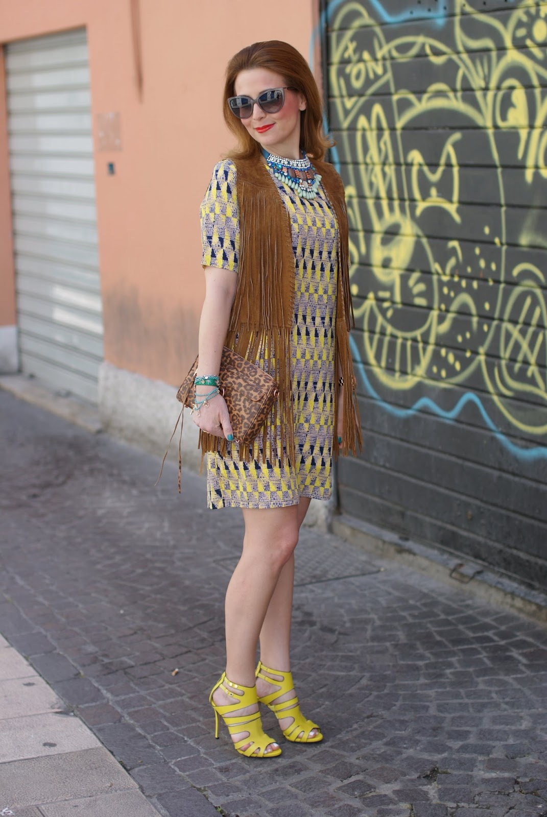 Western chic style, Le Silla yellow heels, Zara fringe vest, Paramita Chibum dress, SimonaB Bijoux necklace, Rebecca Minkoff MAC leopard bag on Fashion and Cookies fashion blog, fashion blogger style