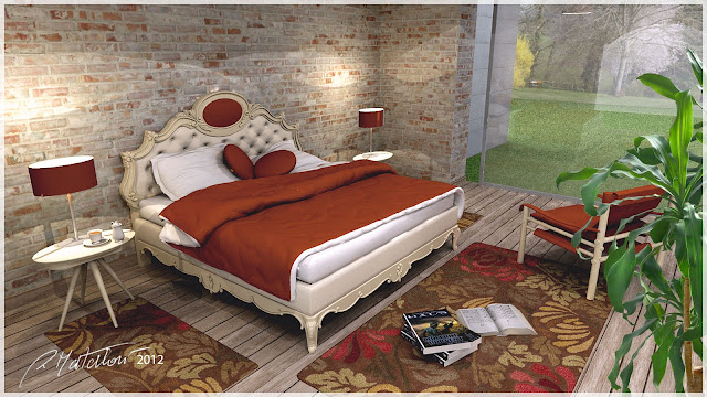 sketchup model classic_ double bed #5_podium render_rosanna_mataloni