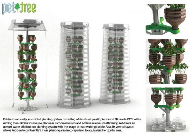 Hortas Vitalidade & Sáude Novo jardim vertical feito de PET