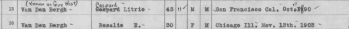 """""""Washington, Passenger and Crew Lists, 1882-1961,"""" database, Ancestry.com(http://www.ancestry.com/ : accessed 5 Feb 2015), entry for Caspard Litrio Van Den Bergh (known as Guy West), arriving 16 Sep 1934."""
