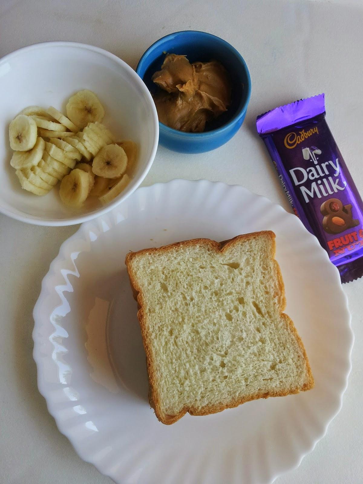 Peanut Butter(PB) chocolate banana sandwich