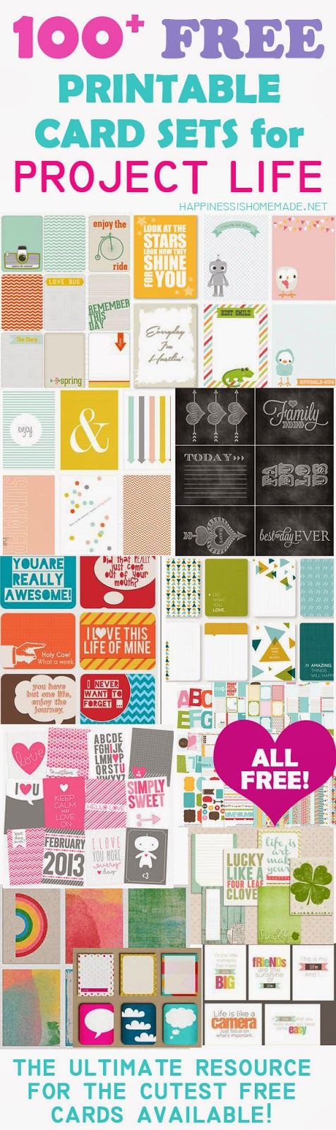 http://www.happinessishomemade.net/2013/07/26/100-free-printable-project-life-journaling-card-insert-sets/