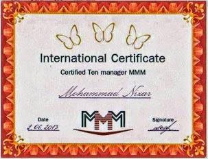 Sertifikat Manager MMM Cari Hoki