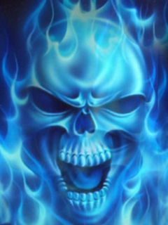 Blue Fire Flame Skull Art