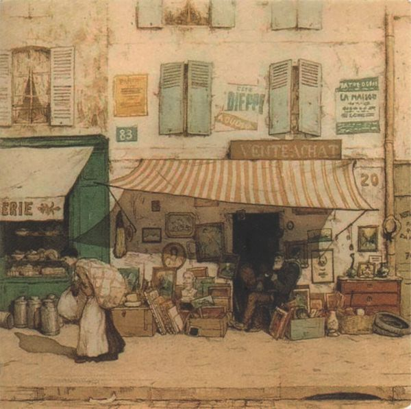 impressionist style image of an old junk shop with shop-keeper sitting outside