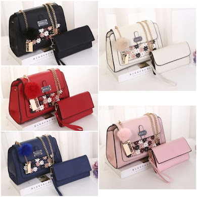 BONIA BAG ( 2 IN 1 SET ) - BLACK , CREAM , LIGHT PURPLE , NAVY BLUE , RED