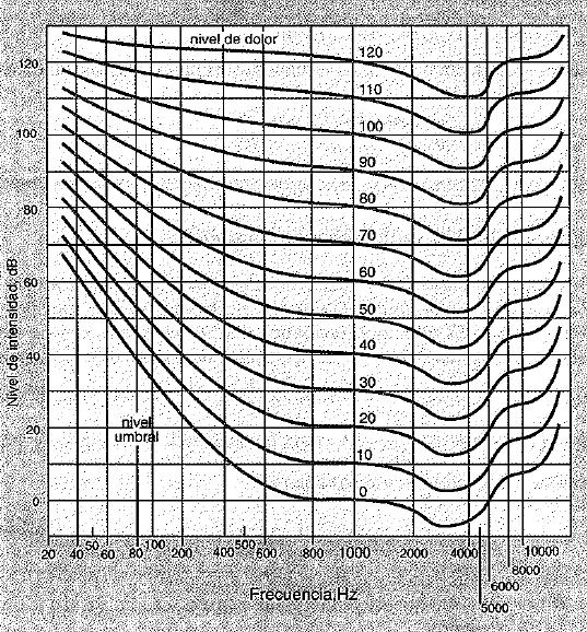 nivel de intensidad acustica en funcion de la frecuencia