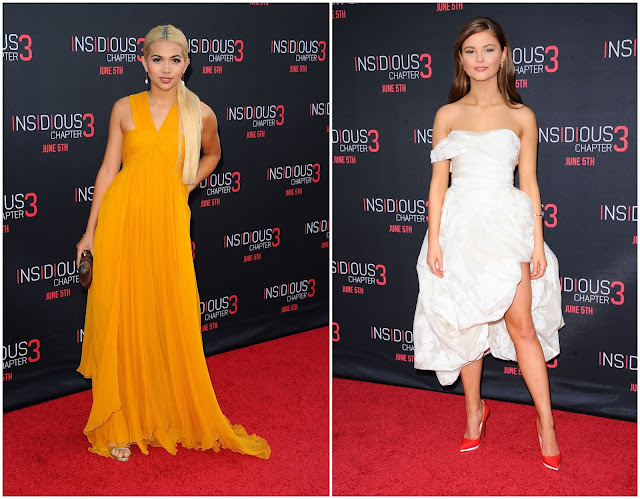 Stefanie Scott and Hayley Kiyoko go glamorous for the 'Insidious Chapter 3' Hollywood premiere