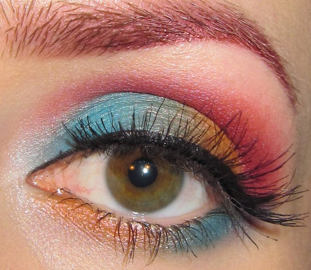 Glitter Is My Crack Turquoise Orange And Pink Eye Makeup Look
