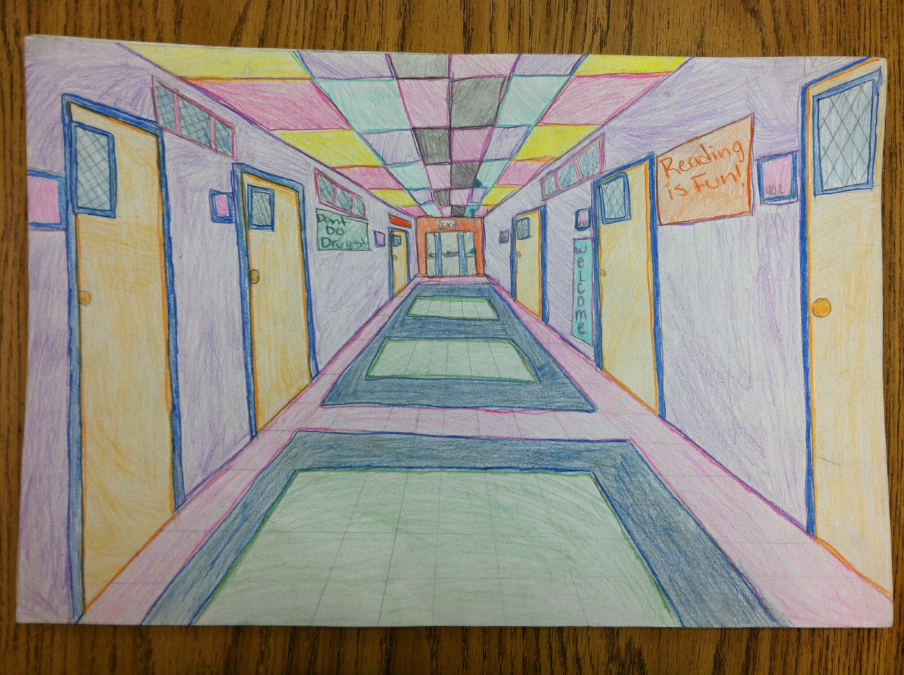 1 Point Perspective Room Drawing Technical Hand Drawings