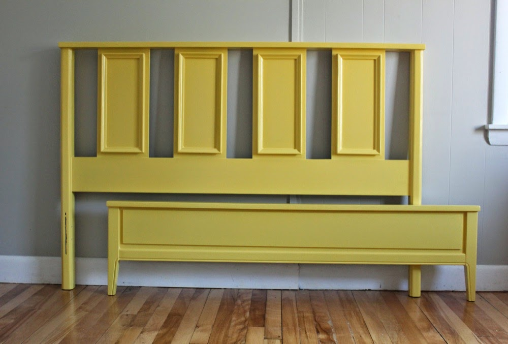 the bed frame includes a headboard a foot board and two side rails fully assembled it measures 79 12 l x 57w x 395h - Yellow Bed Frame