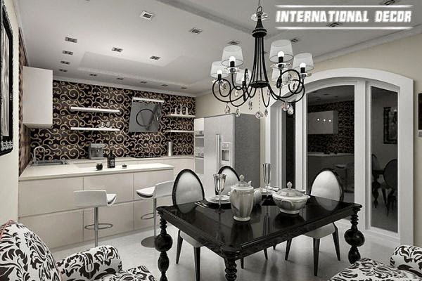 Art Deco kitchen designs and furniture, black and white kitchen