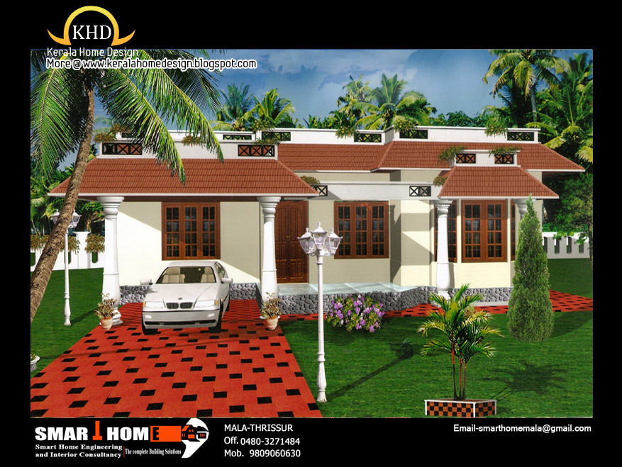 Single floor house plan and elevation 1320 sq ft for Single floor house elevation images