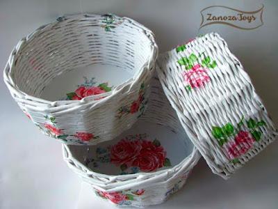 Плетеная корзинка с картонным дном. МК для начинающих