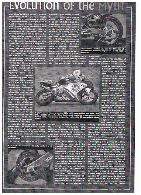 Cagiva Mito Evo 1 / 2 Adverts and magazine articles