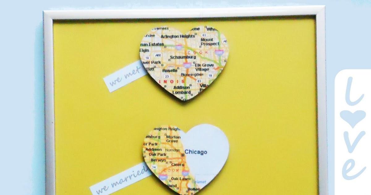 Diy Map Wedding Gift : Love Map Wall Art {DIY Wedding Gift}Delightfully Noted