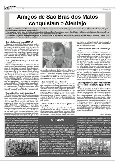 GRANDE ENTREVISTA NO JORNAL «LINHAS DE ELVAS» - AMIGOS DE SÃO BRÁS DOS MATOS CONQUISTAM O ALENTEJO.
