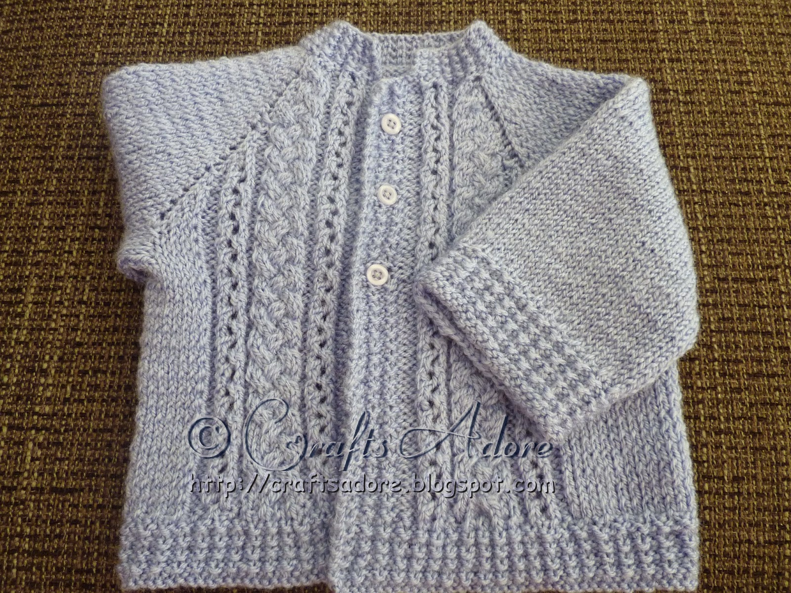 Knitting Pattern Raglan Sleeve Baby Cardigan : CraftsAdore: