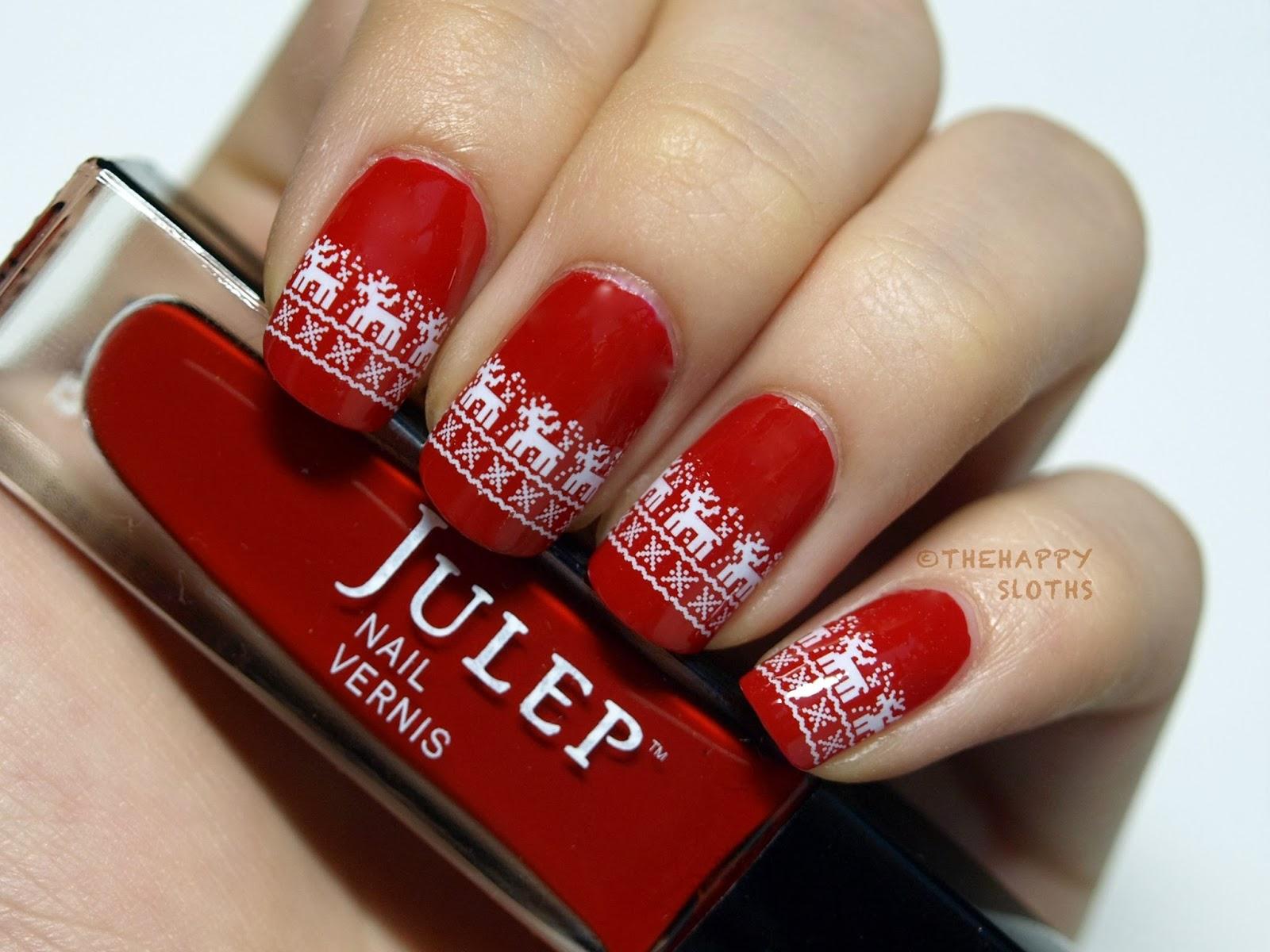 Стемпинг на красных ногтях фото