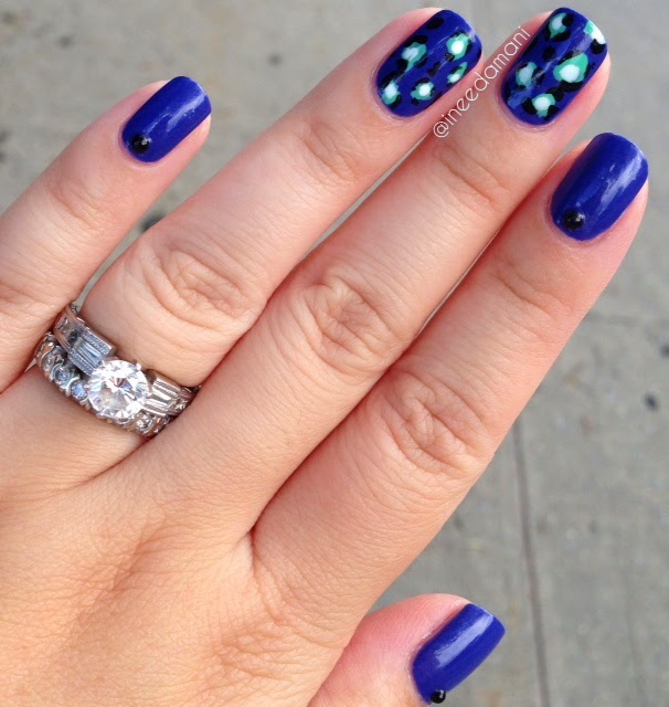 kate spade blue and mint leopard print nails