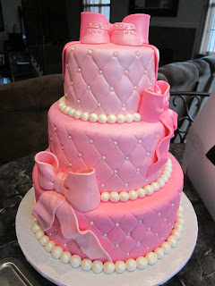 mymonicakes pink pearls baby shower cake
