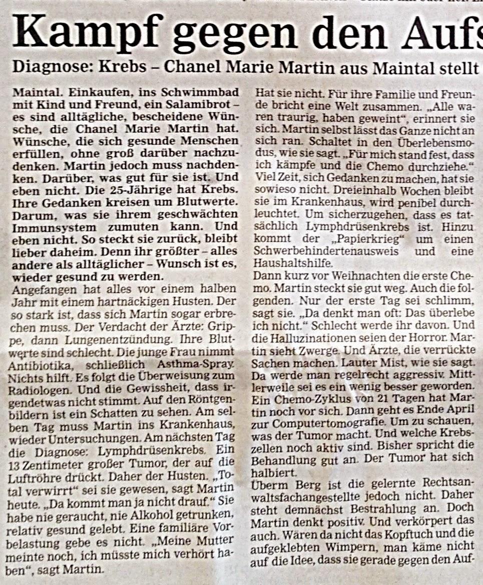Marie gegen Krebs: 2. Chemotag, 6. Zyklus - letzte Runde - Chaka ...