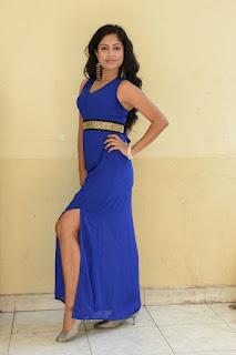 Vrushali in Sleeveless Purple Leg Split Gown at Srimathi Bangaram movie event