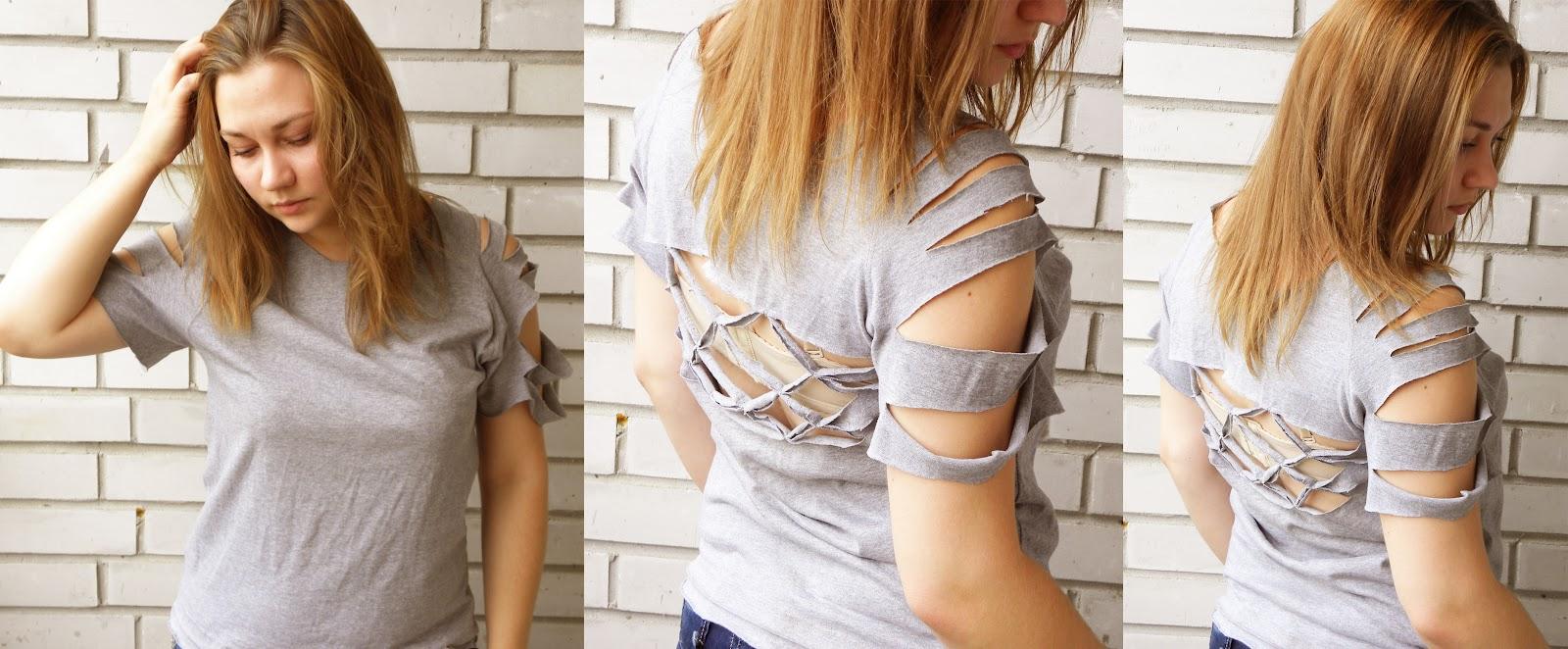 Как красиво порезать футболку своими руками 92