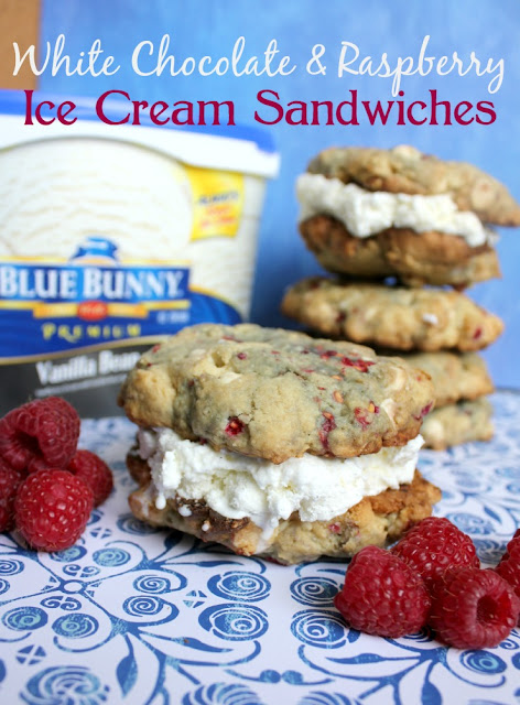 White Chocolate Chip & Raspberry Cookie Ice Cream Sandwiches #SunsOutSpoonsOut #ad