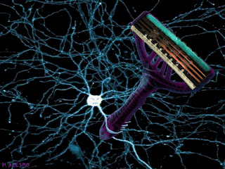 Neuron brandishing a razor blade